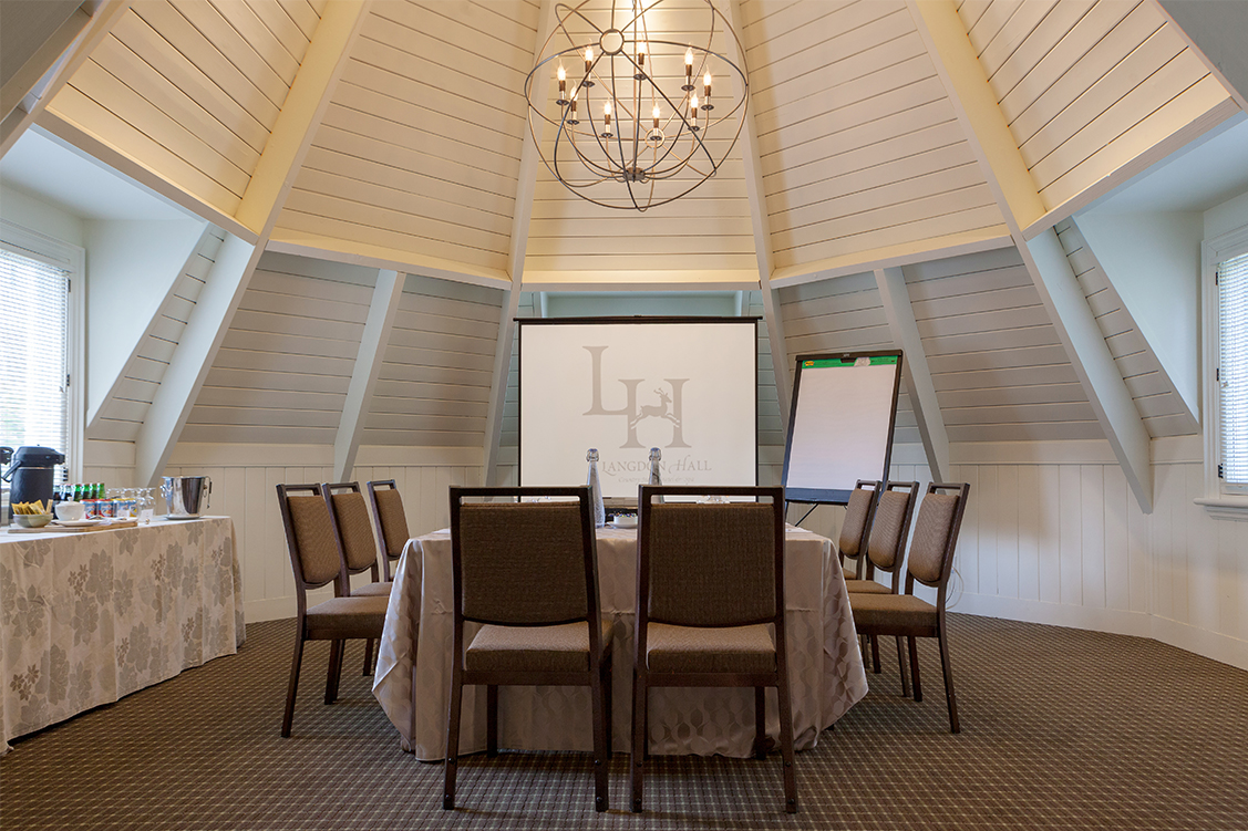 Small meeting room with high ceiling