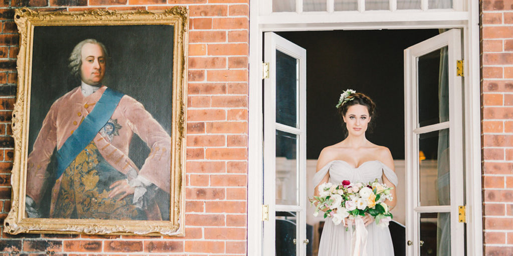 bride beside historical photo