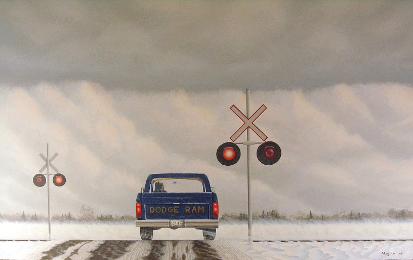 Painting of truck at railway crossing