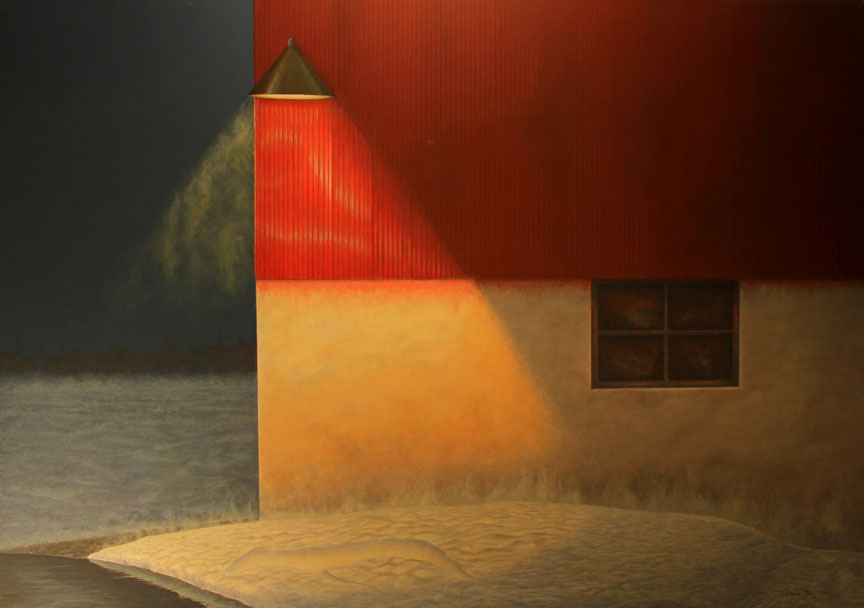 Painting of barn at night