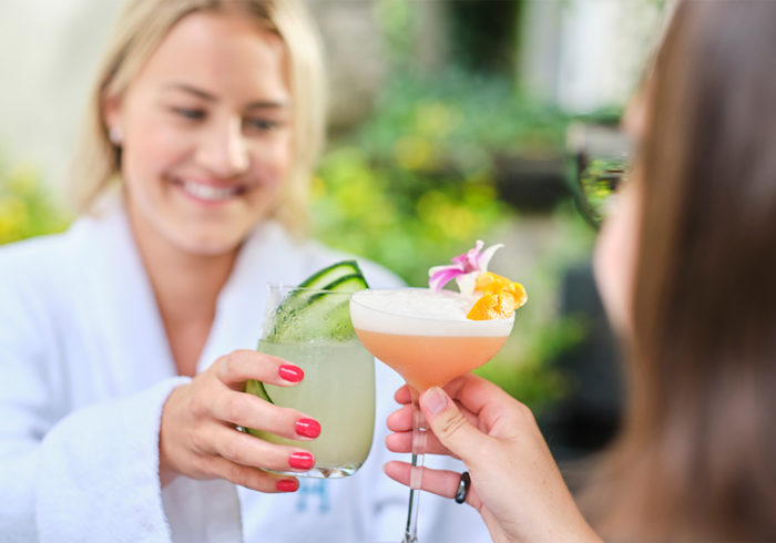 Spa guests enjoying drinks clinking glasses