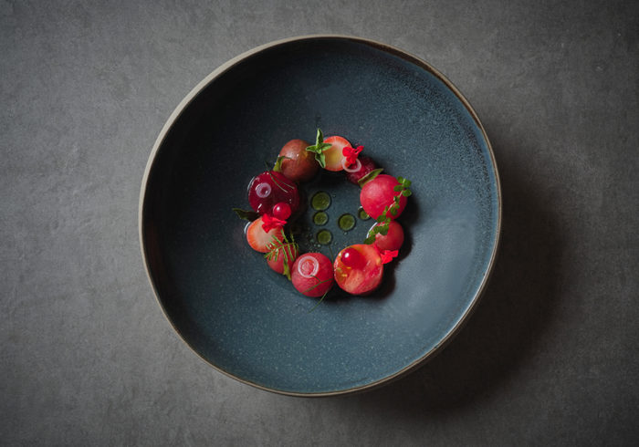 red fruits arranged in a circle, garnished with herbs and served in a dark bowl