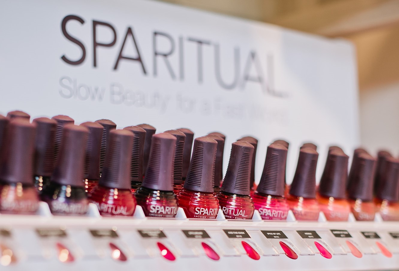 Spa Ritual nail polish stand with various colours