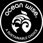 ocean wise logo - white text and black background with fish in a circle