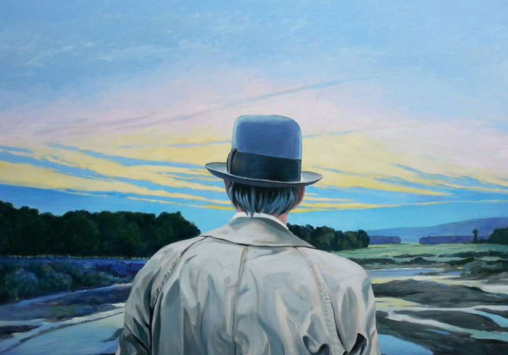 Germany, Acrylic art, back of older man dressed in a coat and bowler hat, looking out at the landscape and a colourful sky with lots of pinks, yellows and blues