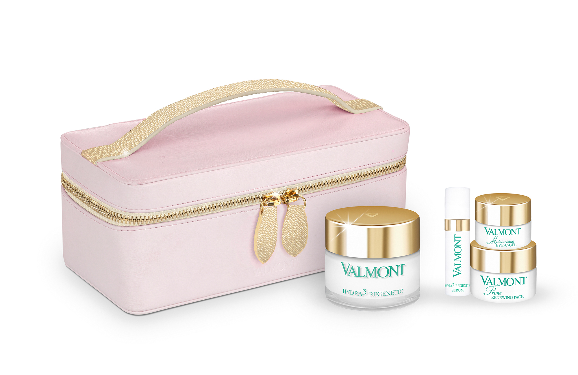 perfect routine intense hydration kit with pink cosmetic bag and 4 bottled valmont products