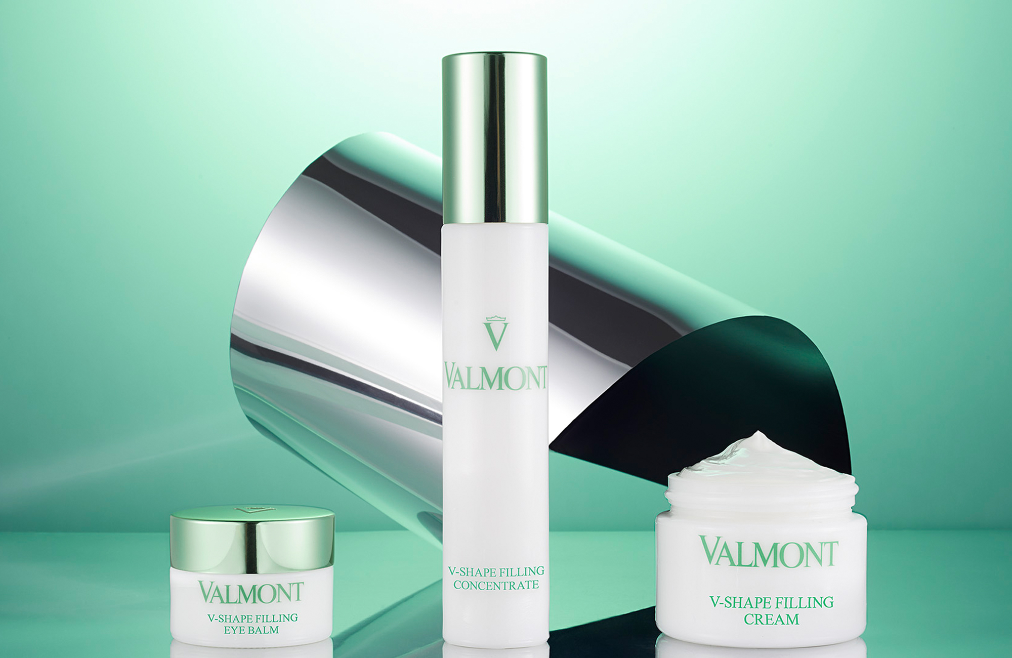 Valmont V shape products: filling cream, filling concentrate, filling eye balm