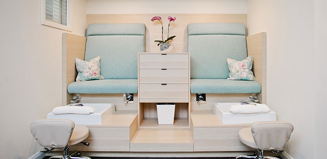 Two ready-to-pamper pedicure stations in the spa