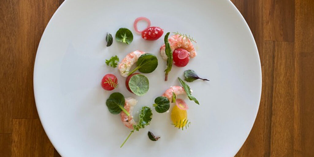 Spot prawns, tomatoes, shallots, and herbs