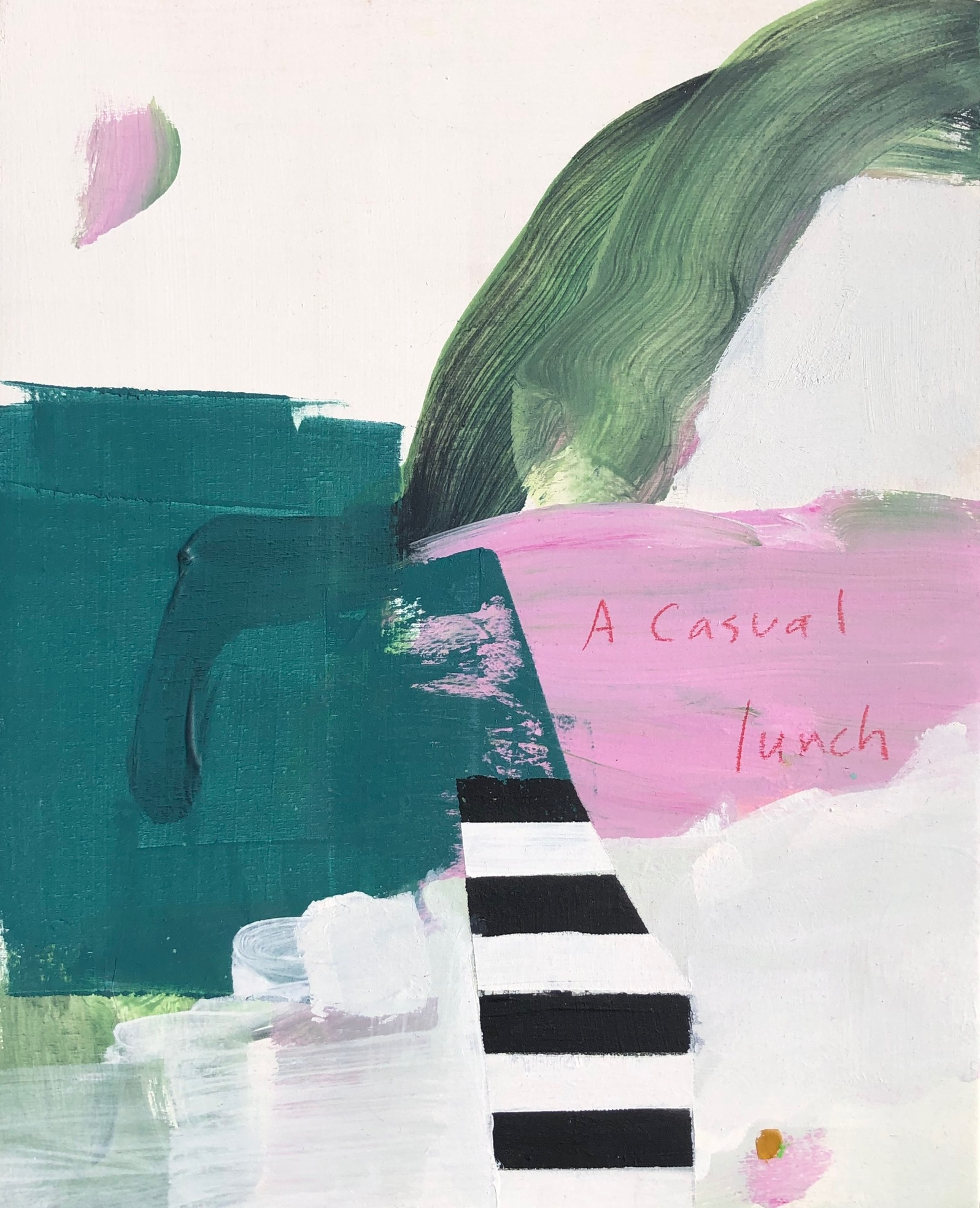 "SOLD - A Casual Lunch, acrylic and chalk pastel, 10"" x 8"" - Johanna Reynolds"