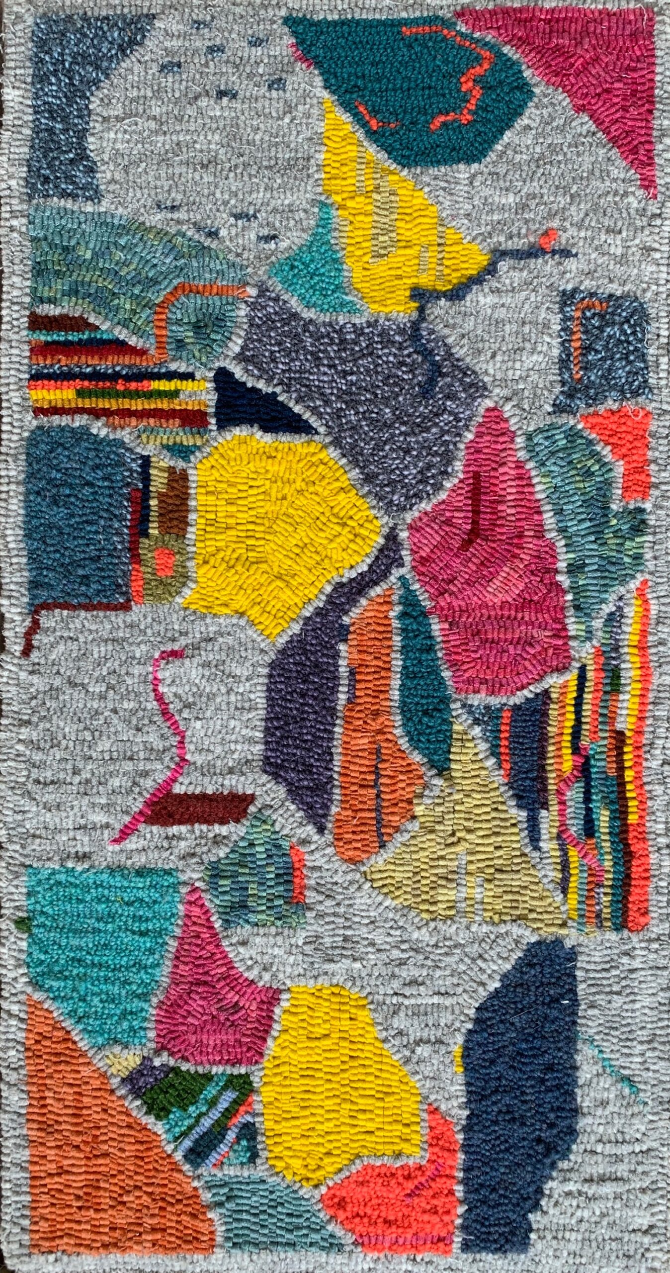 Beginnings, hooked wool on linen, 31
