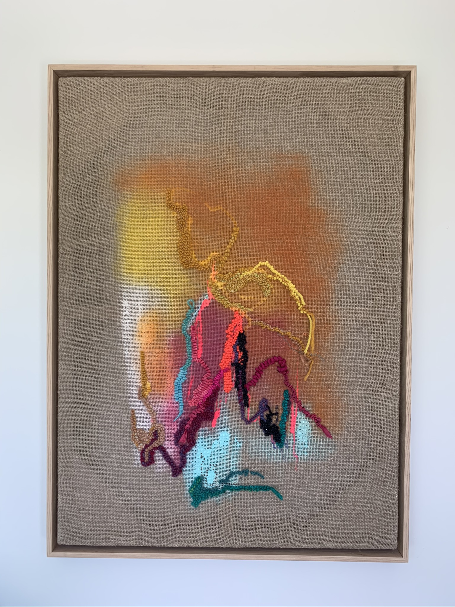 """SOLD - Evidence is All Around, acrylic paint, hooked wool, and silk on linen, 24"""" x 30"""" (framed) - Kara McIntosh"""