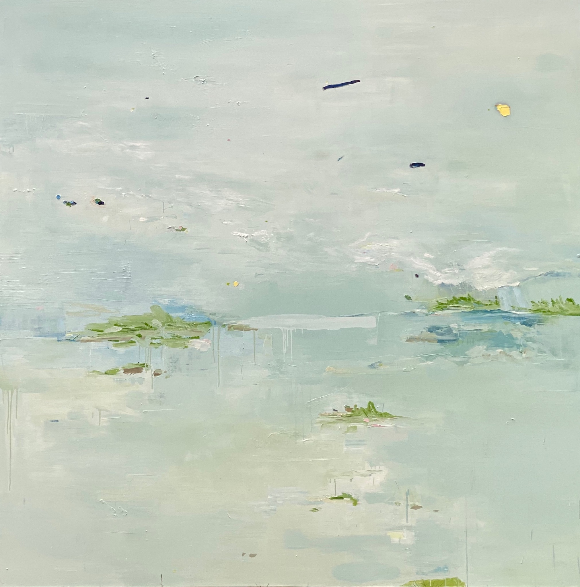 "SOLD - Rain Coast, acrylic, oil, chalk pastel on canvas, 78"" x 78"" - Johanna Reynolds"