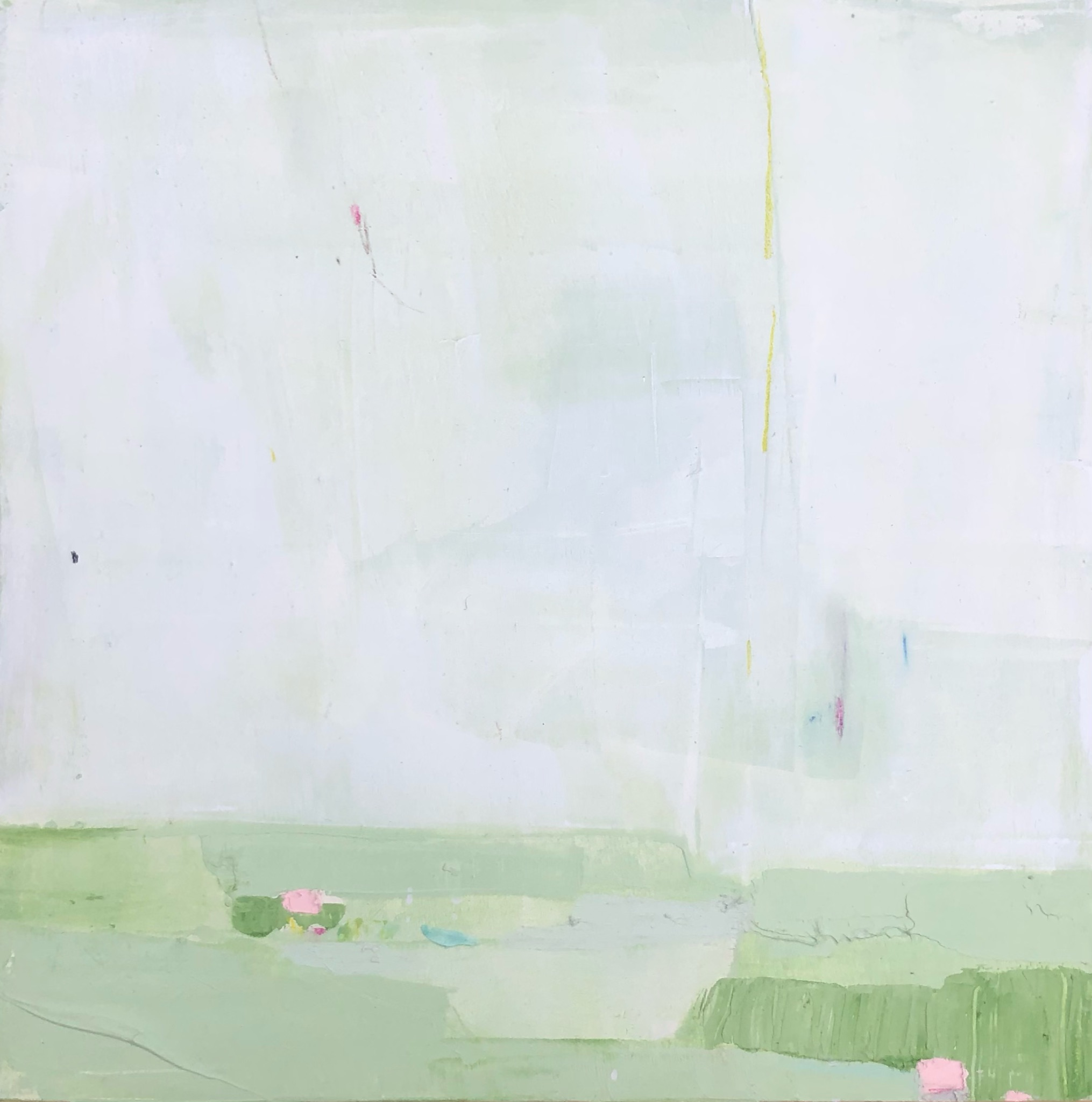 SOLD - Green Fields, oil, acrylic and chalk pastel on panel, 12