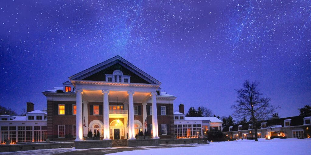 Langdon Hall in the winter at night