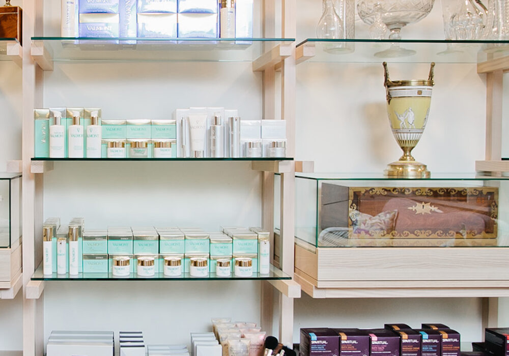 shelf of spa products