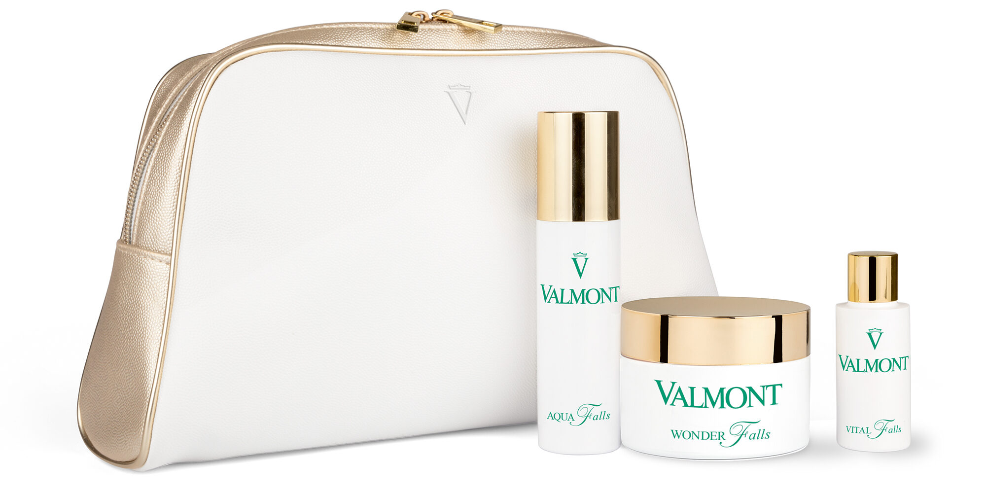 pure pampering kit with white cosmetic bag and 3 bottled valmont products